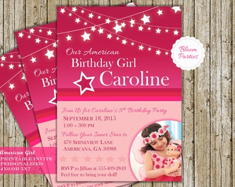 American Girl Doll Birthday Party Invitation Digital Printable Invite - 4x6 or 5x7, Custom with Photo (optional)
