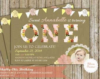 Shabby Chic Birthday Invitation Baby Girl First Birthday Invite Digital Printable Sweet Floral with Photo DIY
