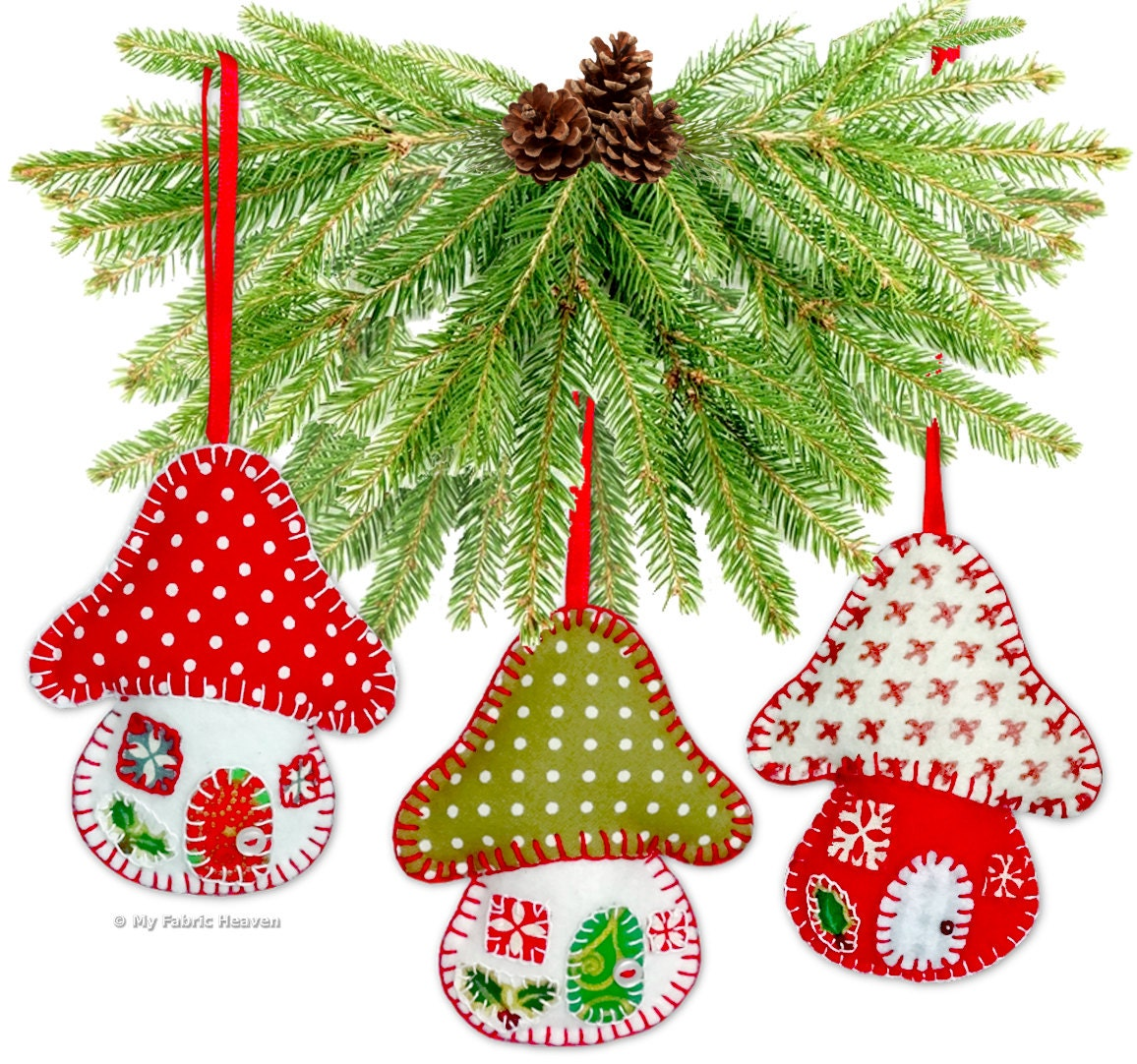 Felt Toadstool House Christmas Decoration EASY Printed Sewing