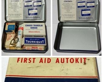 Vintage 1940s Johnson & Johnson First Aid Auto Kit