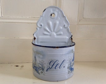 French enamel salt box with etched windmill and sailboat design