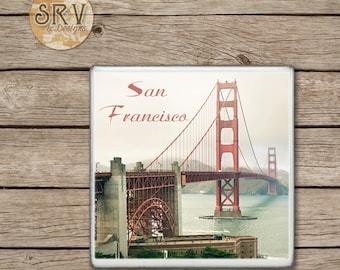 Drink Coaster, San Francisco, Golden Gate Bridge Handmade Design, Ceramic Tiles, Housewarming Gift, Wedding, Big City Home Decor, Kitchen