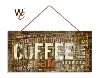 distressed coffee sign words cafe mocha cappuccino latte 5 x 10 sign - Distressed Cafe Decor