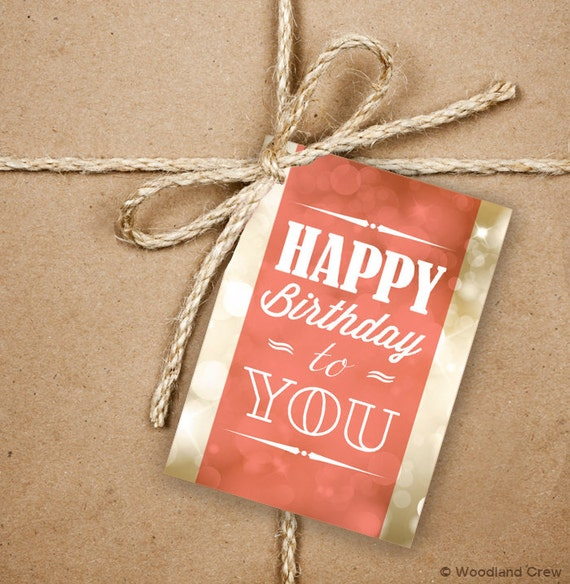 9 Happy Birthday Gift Tags, Birthday Greetings 2.5 X 3.5