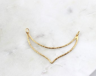 Vermeil Hammered Chevron Crescent Connector Charm // Gold Vermeil Finish // BBB Supplies Luxe {LC-HamCrescentDbl-VL}