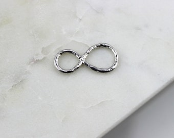 Hammered Infinity Connector Charm, Sterling Silver Hammer Finish Infinity Link, Figure Eight Charm // Sterling Silver //{LC-HamInfinty-SS}