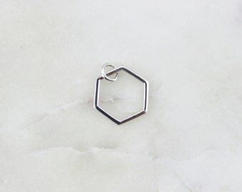 Sterling Silver Hexagon Honeycomb Charm, Silver hexagon charm, 925 hexagon, Hexigon charm, Honeycomb // Sterling Silver //{LC-Hexagon-SS}