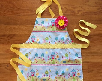 toddler apron - craft apron - reversible apron - child apron - kids apron - art apron - craft apron - toddler girl gift - polka dot apron