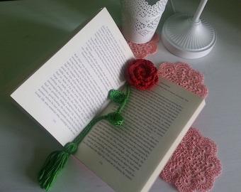 Handmade crochet rose bookmark, floral bookmark, crochet flower rose, reader gift.