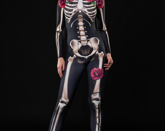 SKELETON GLAM Halloween Costume, Full Body Skeleton, Adult Skeleton Catsuit, Skeleton Jumpsuit, Black Catsuit, Halloween Costumes, Outfit