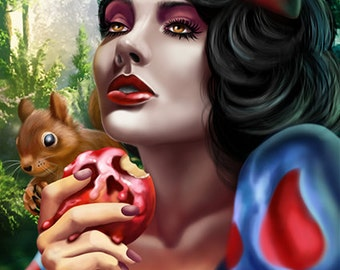 Snow White Poison Apple Canvas Art Print