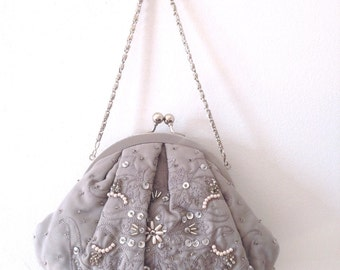 Dove Grey Beaded/Embroidered Clutch Purse