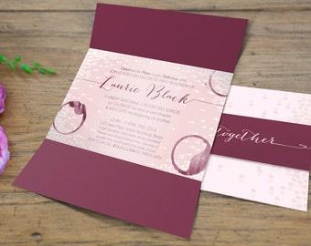 Sets of 10 Grape di Vino Winery Bachelorette Party Gatefold Invitation