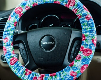 Pink and Blue Floral Padded Steering Wheel Cover Car Decor Cute Car Accessories