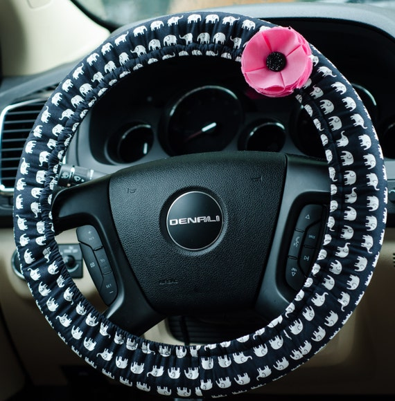 Navy And White Elephant Padded Steering Wheel Cover Car Decor
