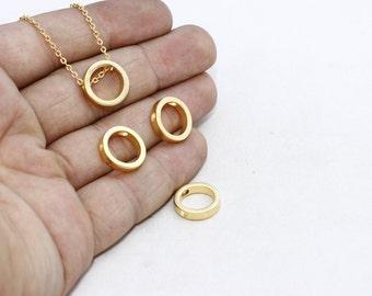 24k Gold Plated Round Pendant, Pendant, Geometric Pendant, Initial Pendant, Gold Plated Charms, Necklace, MTE120