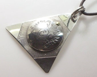 Devil's Triangle Pendant - Sterling Silver - Nautical Talisman for Good Luck - Mariner Pendant - Sailor's Necklace - Bermuda Triangle Charm