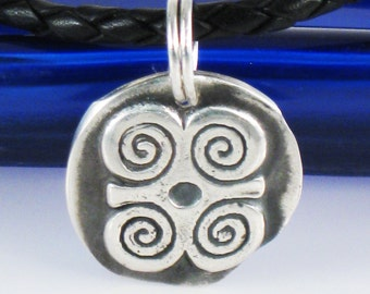 African Adinkra DWENNIMMEN Fine Silver Pendant - Ram's Horns - Symbol of Humility Together with Strength - Graduation Gift Silver Pendant