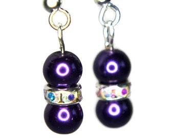 """Dark Purple Pearl Drop Earrings, Sparkly Earrings, Pearl Dangle Earrings, """"Pearly Sparkles Earrings"""""""