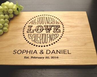 Personalized Chopping Board, Monogram Custom Wedding Gift Engraved Wood Cutting Board, Personalized Wedding Anniversary or Housewarming Gift