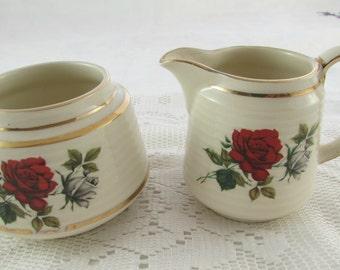 Sadler Cream and Sugar Set with Red Rose