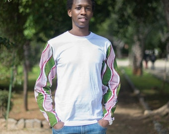 Maglia Uomo manica lunga in STOFFA AFRICANA / T-shirt with Long sleeve for Man in African fabric, made with original African fabric.
