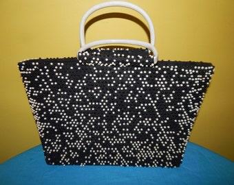 Vtg  Black White Handbag Lumured USA CORDE BEAD c1950s