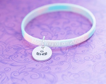 Hand Stamped Mommy of an Angel Bracelet - Angel Bracelet - Angel Wings - Miscarriage - PAIL - Awareness - Silicone Bracelet - Charm Bracelet