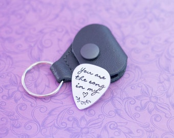 Engraved Guitar Pick - I Pick You - Guitar Pick - Gift for Him - Engraved Jewelry - Wedding Date - Anniversary - Initials - Heart Song