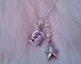 Bunny Necklace, sterling silver bunny charm with pretty silver stars