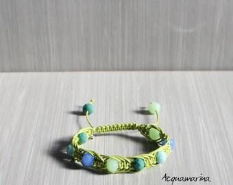 Handmade macrame bracelet-green cotton yarn and swarovski stones-Handmade macrame bracelet charm Silver turtle-green