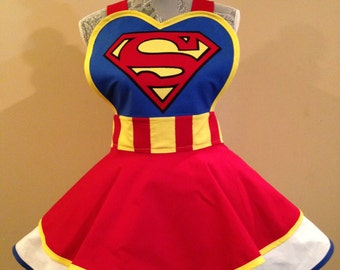 Supergirl apron - Super girl - Superman - Cosplay apron - Retro apron