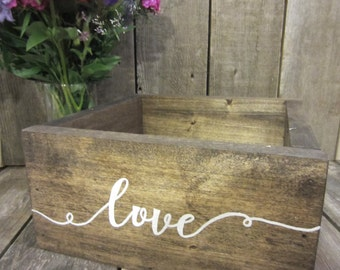 Love Centerpiece Box, wedding centerpiece box, centerpiece box, vintage centerpiece, wood centerpiece, rustic centerpiece, wood box, love