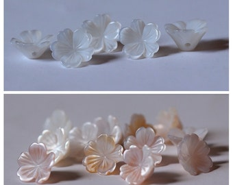 6pcs White or Pink natural mother of pearl Flower shell beads, Flower shaped shell beads, MOP charm, Natural shell charm, side drilled hole