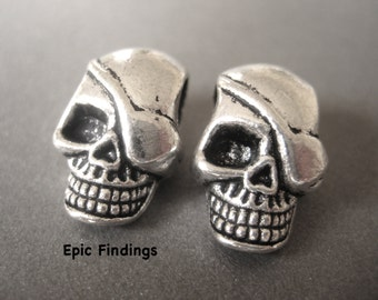 2pc 20mm Silver Pirate Skull Large Hole Euro Beads, Skull Eye Patch Spacer, European Charm, Skull Beads, Epic Findings
