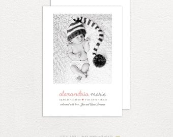 Photo Birth Announcement- Front and Back Design- Baby Girl, Baby Boy, Black and White, Color Collage Photos