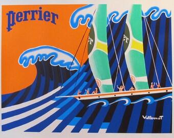 1981 Villemot Perrier Poster, Hokusai Great Wave Sailboats, Original 1980s Ad - Beach Decor, Nautical Decor, Seaside Art