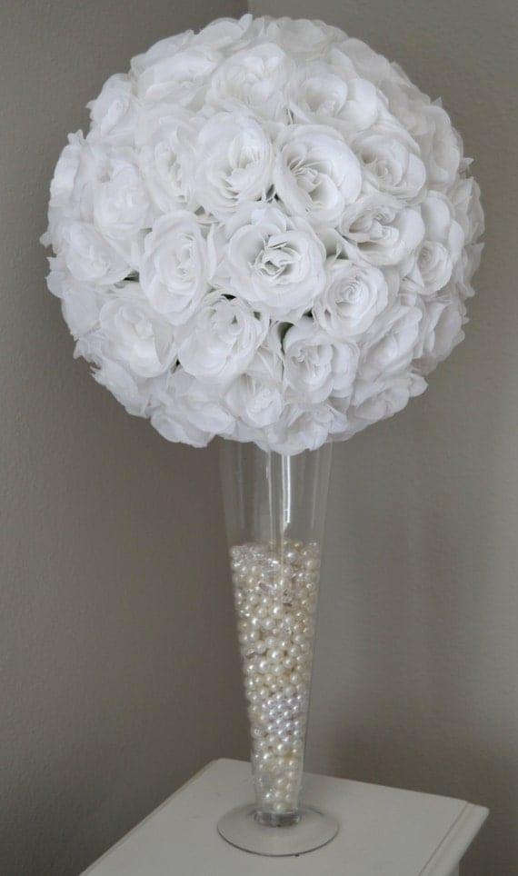 White flower ball wedding centerpiece pomander