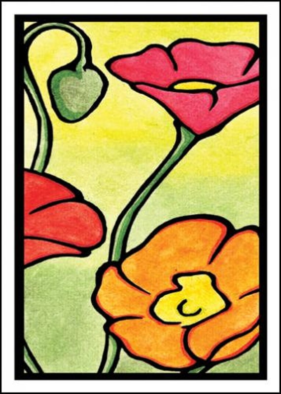 Poppies - Single Blank Sarah Angst Greeting Card - Yellow, Red, Orange - Garden Flowers