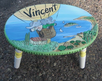 Babar step stool, kids step stool, hand painted furniture