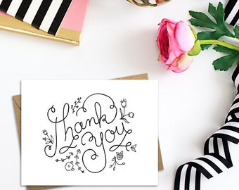 Thank You Card with White or Kraft Envelope, A2 Single Card or Boxed Set of 10