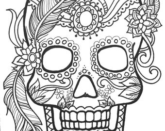 10 sugar skull day of the dead coloringpages original art coloring book for adultscoloring - Therapy Coloring Pages Printable