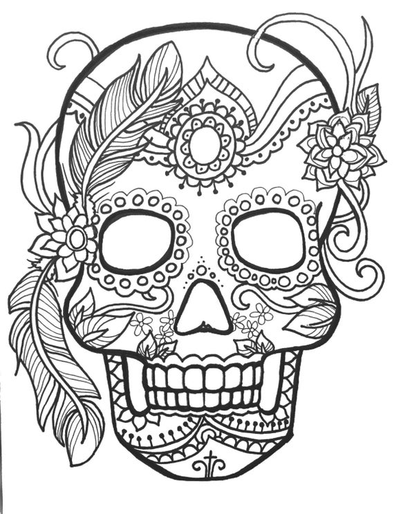 10 sugar skull day of the dead coloringpages original art coloring book for adultscoloring therapy coloring pages for adults printable - Day Of The Dead Coloring Book
