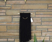 LITTLE SASHA - Black Vintage Modern Wool Natural Fiber Art Macrame Woven Wall Hanging Tapestry on Wood Bar w/ Brass Accent