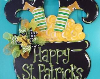 St. Patrick's Day Pot of Gold Wood Door Hanger by Simply aDOORable!  St. Patrick's Day Decor, Pot of Gold Decor, St. Patrick's Day Wreath
