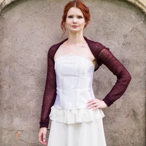 Wedding Bolero Burgundy Bridesmaids Dress Cover Up Long Sleeve