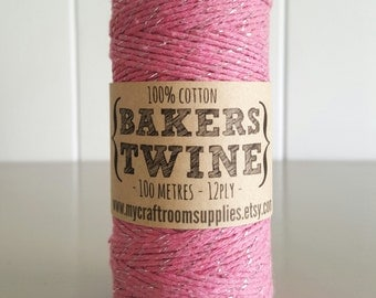 100mt roll PINK/SILVER Glitter Bakers Twine 100% cotton