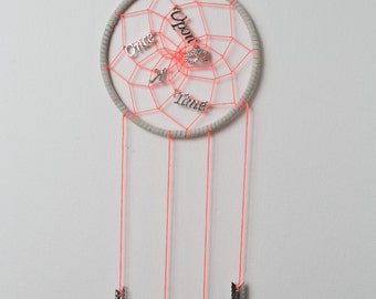 SALE ! Dream Catcher Once Upon A Time // NEW ITEM // Bright Pink/Orange // Tan // Silver // Arrows // 5 Inch