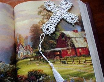 Crochet cross bookmark, white and silver