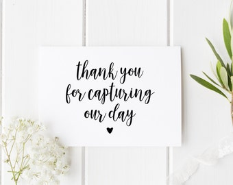 Thank You Wedding Card, Thankyou Photographer Card, Thank You For Capturing Our Day, For Wedding Photographer, Card For Party Photographer